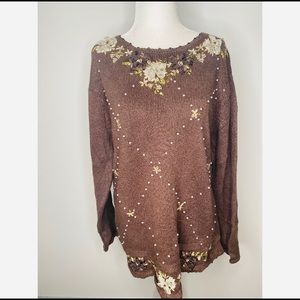 NWT Vintage Cottagecore Floral Sweater Embroidered